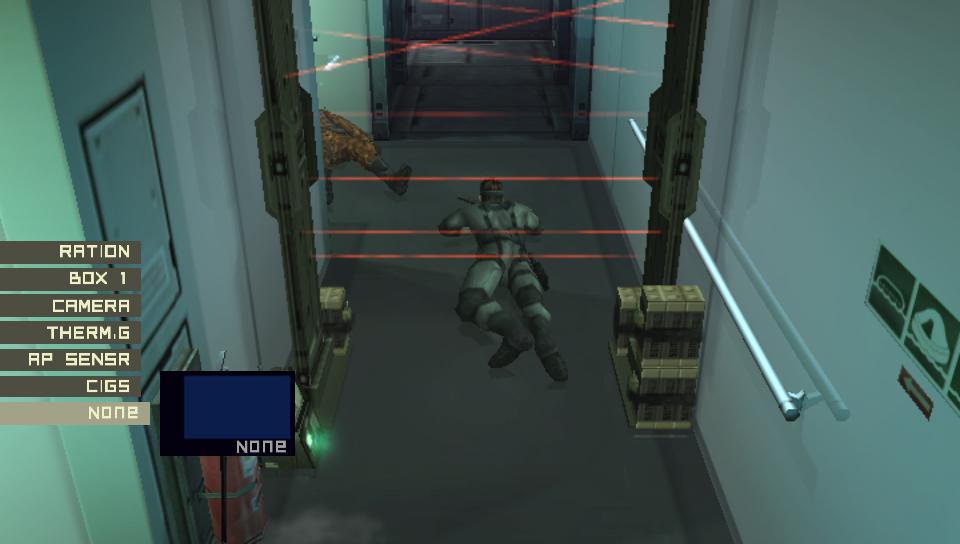 Snake crawling under a laser detector in MGS2.