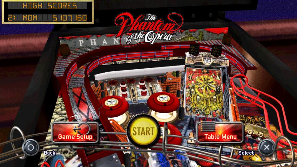 Mesa de pinball phantom of the opera en ps vita for Pinball de mesa